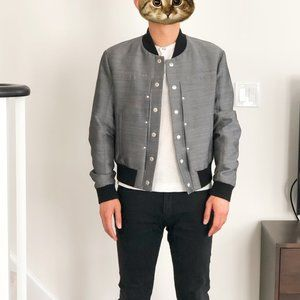 Maison Margiela Silver Bomber Wool Cotton Jacket